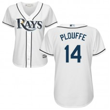 Women - Trevor Plouffe #14 Tampa Bay Rays Home White Cool Base Jersey