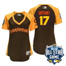 Women - 2016 All-Star National Chicago Cubs #17 Kris Bryant Brown Home Run Derby Cool Base Jersey