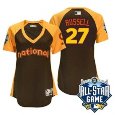 Women - 2016 All-Star National Chicago Cubs #27 Addison Russell Brown Home Run Derby Cool Base Jersey