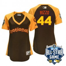 Women - 2016 All-Star National Chicago Cubs #44 Anthony Rizzo Brown Home Run Derby Cool Base Jersey