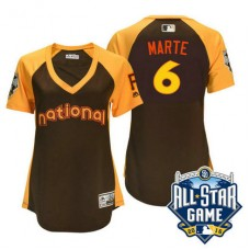 Women - 2016 All-Star National Pittsburgh Pirates #6 Starling Marte Brown Home Run Derby Cool Base Jersey