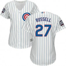 Womens Chicago Cubs Addison Russell #27 White 2016 World Series Champions Patch Cool Base Jersey