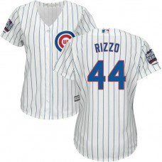 Womens Chicago Cubs Anthony Rizzo #44 White 2016 World Series Champions Patch Cool Base Jersey