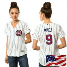 Women - Chicago Cubs Javier Baez #9 White 2016 Independence Day Stars & Stripes Cool Base Jersey