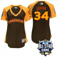 Women - 2016 All-Star National Chicago Cubs Jon Lester #34 Brown Home Run Derby Cool Base Jersey