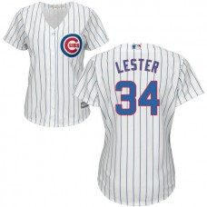 Women - Chicago Cubs Jon Lester #34 White Official Cool Base Jersey