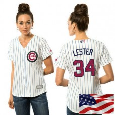 Women - Chicago Cubs Jon Lester #34 White 2016 Independence Day Stars & Stripes Cool Base Jersey