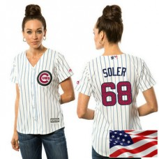 Women - Chicago Cubs Jorge Soler #68 White 2016 Independence Day Stars & Stripes Cool Base Jersey