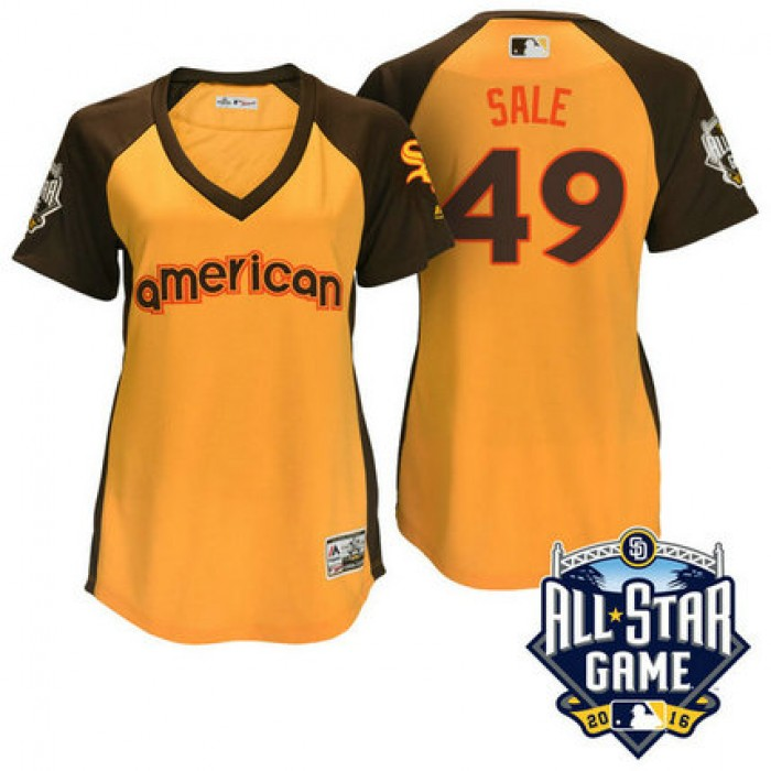 Women - 2016 All-Star American Chicago White Sox Chris Sale #49 Yellow Home Run Derby Cool Base Jersey