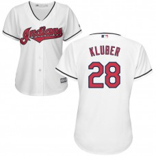 Womens Cleveland Indians Corey Kluber #28 Home White Cool Base Jersey