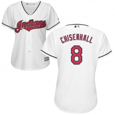 Womens Cleveland Indians Lonnie Chisenhall #8 Home White Cool Base Jersey