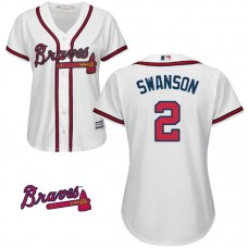 Women - Dansby Swanson #2 Atlanta Braves White Home Official Cool Base Jersey