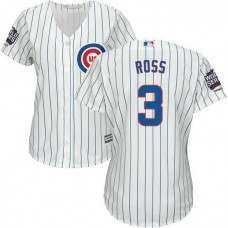 Womens Chicago Cubs David Ross #3 White 2016 World Series Champions Patch Cool Base Jersey