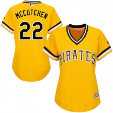 Women - Pittsburgh Pirates Andrew McCutchen #22 Gold Official Throwback Cool Base Jersey