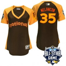 Women - 2016 All-Star National Pittsburgh Pirates Mark Melancon #35 Brown Home Run Derby Cool Base Jersey