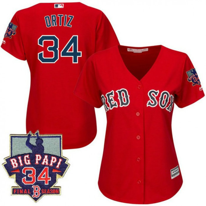 Women - Boston Red Sox #34 David Ortiz Red Cool Base Jersey with Retirement Patch