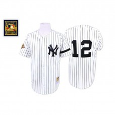 New York Yankees #12 Wade Boggs White Throwback Home Jersey