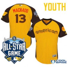 YOUTH 2016 All-Star American Baltimore Orioles Manny Machado #13 Gold Third Baseman Cool Base Jersey