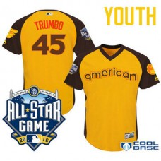 YOUTH 2016 All-Star American Baltimore Orioles #45 Mark Trumbo Gold Cool Base Jersey