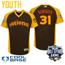 YOUTH 2016 All-Star National Washington Nationals Max Scherzer #31 Brown Cool Base Jersey
