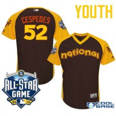 YOUTH 2016 All-Star National New York Mets #52 Yoenis Cespedes Brown Cool Base Jersey