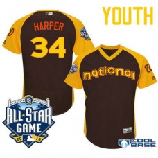 YOUTH 2016 All-Star National Washington Nationals #34 Bryce Harper Brown Cool Base Jersey