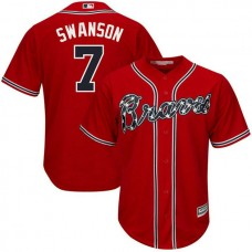 YOUTH Atlanta Braves #7 Dansby Swanson Replica Alternate Scarlet Cool Base Jersey