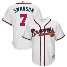YOUTH Atlanta Braves #7 Dansby Swanson Home White Cool Base Jersey