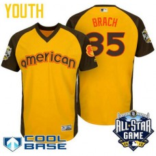 YOUTH 2016 All-Star American Baltimore Orioles Brad Brach #35 Yellow Cool Base Jersey