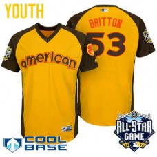 YOUTH 2016 All-Star American Baltimore Orioles Zach Britton #53 Yellow Cool Base Jersey