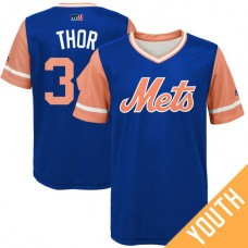 YOUTH New York Mets Noah Syndergaard #34 Thor Royal Nickname 2017 Little League Players Weekend Jersey