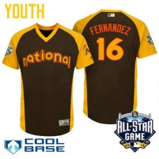 YOUTH 2016 All-Star National Miami Marlins Jose Fernandez #16 Brown Cool Base Jersey