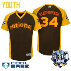 YOUTH 2016 All-Star National New York Mets Noah Syndergaard #34 Brown Cool Base Jersey