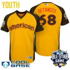 YOUTH 2016 All-Star American New York Yankees Dellin Betances #68 Yellow Cool Base Jersey