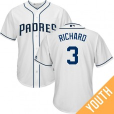 YOUTH San Diego Padres #3 Clayton Richard 2017 Home White Cool Base Jersey