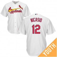 YOUTH St. Louis Cardinals #12 Juan Nicasio Home White Cool Base Jersey