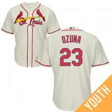 YOUTH St. Louis Cardinals #23 Marcell Ozuna Alternate Cream Cool Base Jersey