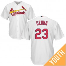 YOUTH St. Louis Cardinals #23 Marcell Ozuna Home White Cool Base Jersey