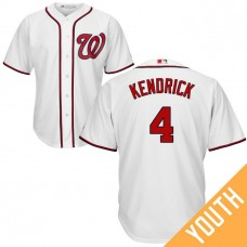 YOUTH Washington Nationals #4 Howie Kendrick Home White Cool Base Jersey