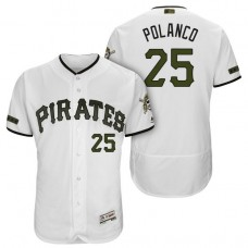 Pittsburgh Pirates #25 Gregory Polanco White 2018 Home Alternate Authentic Collection Flex Base Jersey