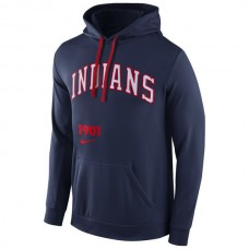 Cleveland Indians Throwback Fleece Navy Pullover Hoodie