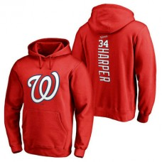 Washington Nationals #34 Bryce Harper Backer Pullover Red Hoodie