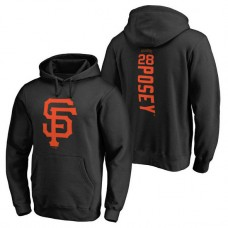 San Francisco Giants #28 Buster Posey Backer Pullover Black Hoodie