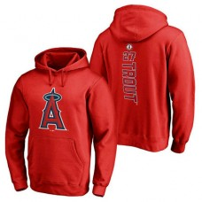Los Angeles Angels #27 Mike Trout Backer Pullover Red Hoodie
