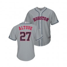 Houston Astros #27 Jose Altuve 2018 Stars & Stripes Cool Base Jersey Gray