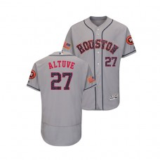 Houston Astros #27 Jose Altuve 2018 Stars & Stripes Flex Base Jersey Gray