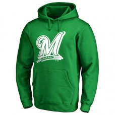 Milwaukee Brewers Kelly Green St. Patrick's Day White Logo Pullover Hoodie
