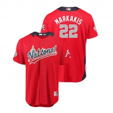 National League #22 Nick Markakis Home 2018 MLB All-Star Red Run Derby Jersey