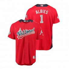 National League #1 Ozzie Albies Home 2018 MLB All-Star Red Run Derby Jersey
