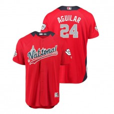 National League #24 Jesus Aguilar Home 2018 MLB All-Star Red Run Derby Jersey